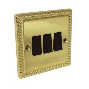 Georgian-Brass-Rope-Triple-Light-Switch-3-Gang-2-way-Electric-Bright-Brass