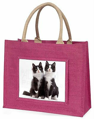 Zwei schwarz und weiß Katzen Große Rosa Einkaufstasche Weihnachtsgeschenk