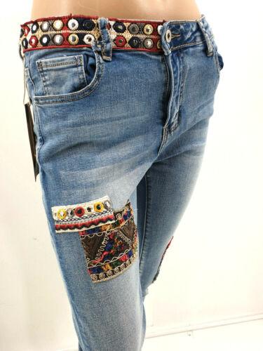 Zac/&zoe Jeans Ethno Patches Hippie Slim Fit Stretch Gr.34-40