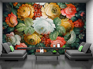 Painted Flowers Wall Mural Photo Wallpaper Giant Decor Paper Poster
