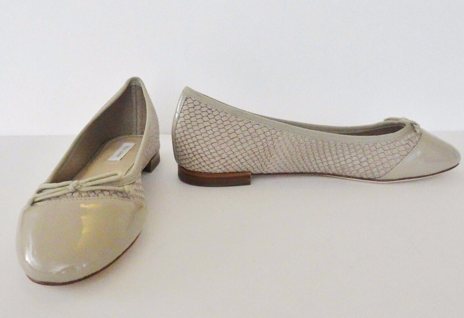 NIb Cole Haan Sarina Snake Embossed Leder Ballet Flat Schuhes Sz 5.5 M Nude 179