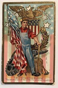 Scarce-Patriotic-Antique-Labor-Day-Postcard-Worker-Flags-Vintage-s512