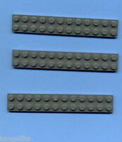 Lego--2445--Basic--Bauplatte--3 Stück--Grau/DkStone-- 2 x 12 --