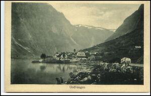 Norge-Norway-Norwegen-Brevkort-1910-20-GUDVANGEN-Vintage-Postcard-Fjord-View