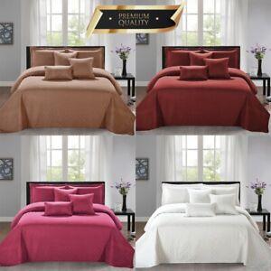 Colcha-Acolchado-moderno-con-2-Funda-de-almohada-de-4-piezas-Juego-de-Cama-Cobertor-Edredon-UK