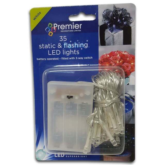 Premier Decorations 35 Static & Flashing White LED Chain Lights New LB111049W
