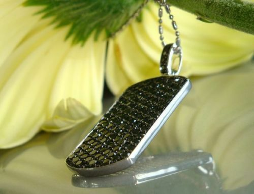 3.55Ct Round Cut Black Diamond DOG TAG Pendant Without Chain 925 Sterling Silver