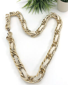 Vintage-90-s-Gold-Chain-Link-Waist-Belt-Woven-White-Leather-Classic-35-US-XS-S