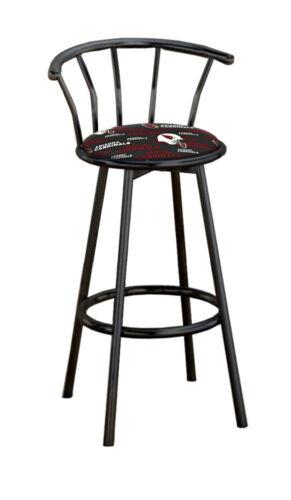 "Bar Stool 24/"" or 29/"" Tall Metal Black Finish Backrest Swivel Seat NFL Cushion"