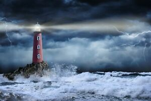 A1-Stormy-Lighthouse-Poster-Art-Print-60-x-90cm-180gsm-Weather-Sea-Gift-12312