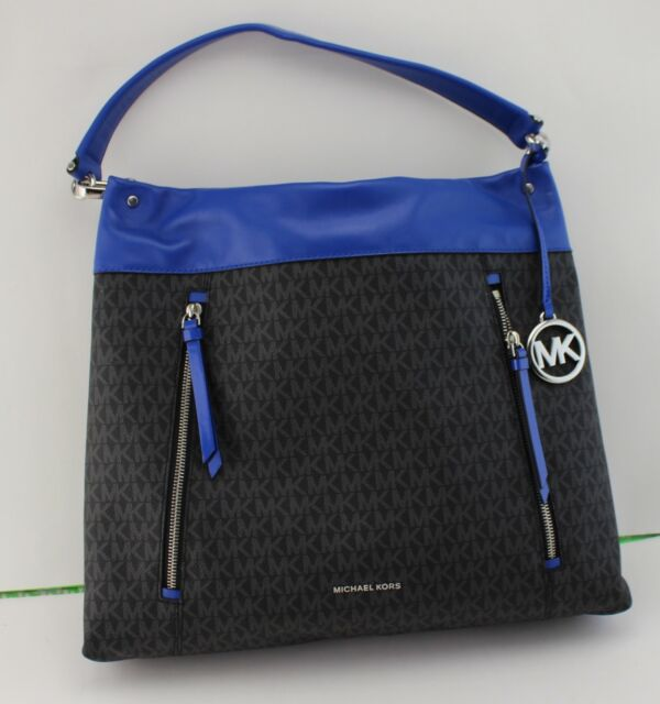 Michael Kors Lex Large Convertible Leather Hobo Bag Black Electric Blue