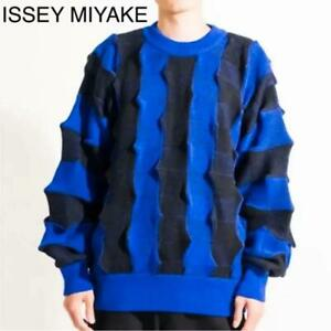 ISSEY-MIYAKE-SWEATER-PULLOVER-MEN-SWEAT-LONG-SLEEVES-SMALL-S-WOOL-100-JAPAN-F-S