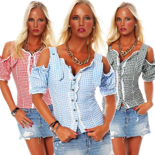 10612 blusa de Dirndl traje regional Oktoberfest Pantalones cuero vestido cuadro