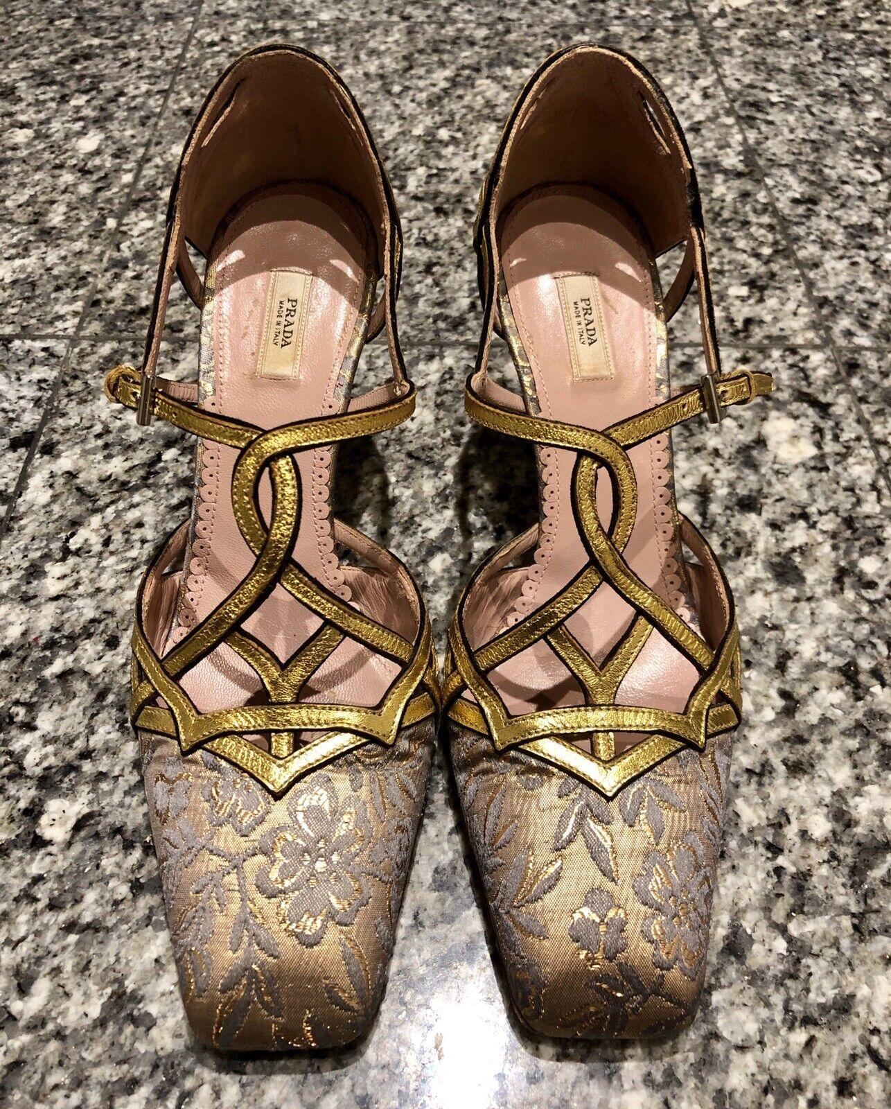 PRADA gold Brocade Satin Heels