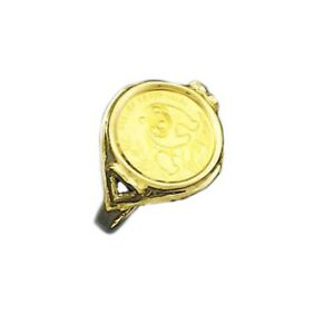 24 Kt Chinese Panda Bear Coin Set In 14 Kt Solid Yellow Gold Ladies Coin Ring Ebay