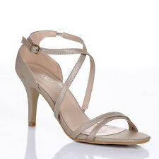 7e4a2bd87d959 item 3 WOMENS LADIES MID HIGH HEEL STRAPPY CROSSOVER WEDDING SANDALS SHOES  SIZE 3 : 8 -WOMENS LADIES MID HIGH HEEL STRAPPY CROSSOVER WEDDING SANDALS  SHOES ...