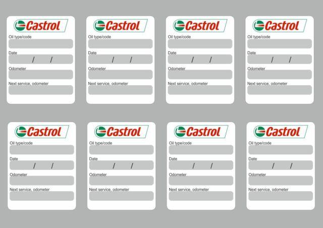 8x Castrol Oil Change Service Reminder Stickers Decals Adhesive Labels Die Cut