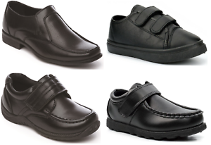 Boys-Black-School-Shoes-Memory-Foam-PU-Leather-Easy-On-UK-Sizes-Inf-6-Adult-9