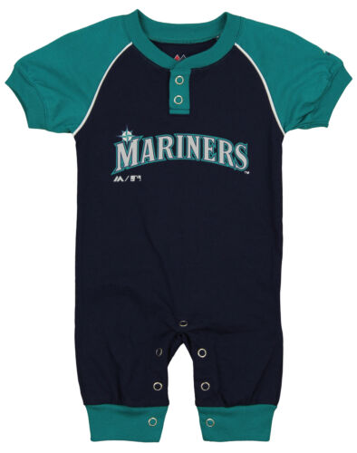 """Majestic MLB Infant Seattle Mariners /""""Game Time/"""" Coverall"""