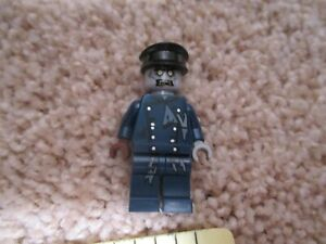 Lego-Zombie-driver-mini-figure-blue-brown-black-hat-grey