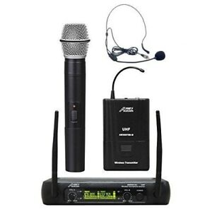 A2K's AWM6074UX UHF, DUAL-CHANNEL WIRELESS HEADSET & MICROPHONE SYSTEM -MR