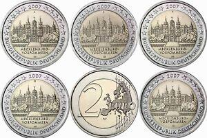 Deutschland-5-x-2-Euro-2007-Schloss-Schwerin-Mecklenburg-Mzz-A-bis-J-bankfrisch