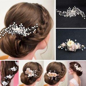Flower-Wedding-Hair-Pins-Bridesmaid-Crystal-Diamante-Pearls-Bridal-Clips-Comb
