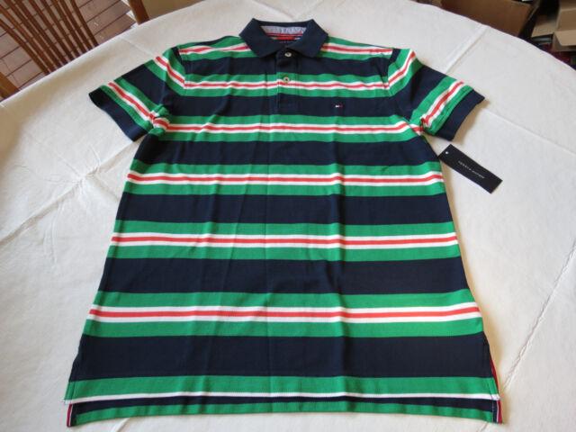 Men's Tommy Hilfiger Polo shirt stripe logo 7850317 Navy Blazer PT 416 S NWT
