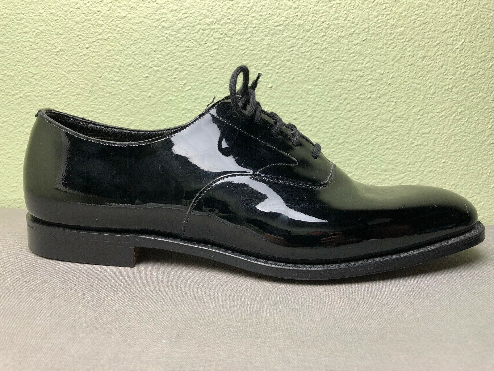 398 Peal & Co Brooks Bredhers Single Black Patent Leather Dress shoes Amputee 12