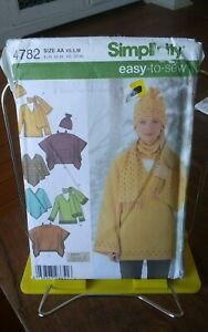 Simplicity-Easy-Sew-4782-misses-fleece-pullover-top-scarf-hat-poncho-sz-6-16-NEW