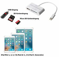 3in1 Camera Connection Kit para Apple iPad mini 1/2/3/4 USB micro SD tarjeta SD