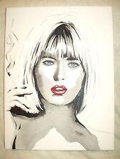 Canvas Painting Model Joanne Jo Guest B B&W Art 16x12 inch Acrylic