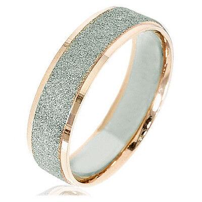 Unisex Men Women 18K Gold Filled Scrub Wedding Titanium rings Sz4-15.5 MKUS008B