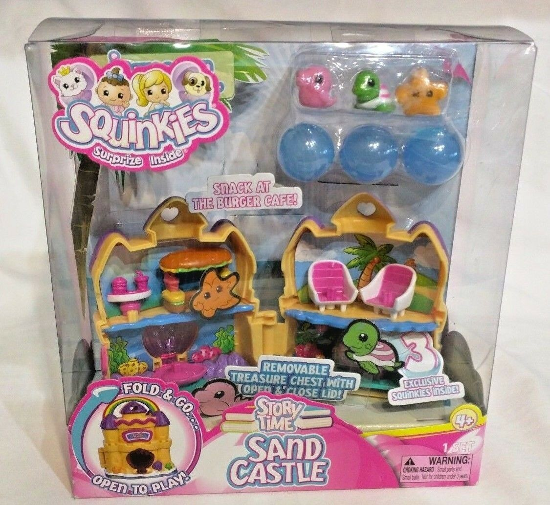 HIGHLY COLLECTIBLE  Squinkies Girls Folding Playset Sand Castle Sea Animals NIB