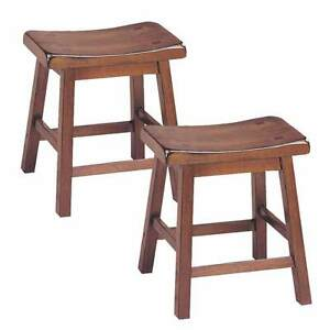 Awesome Details About Gaucho Set Of 2 Kitchen Walnut 18H Height Bar Saddle Stools Solid Wood Seat New Pdpeps Interior Chair Design Pdpepsorg