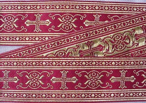 "Vestment Chasuble Trim Metallic Jacquard Gold on Red 2 1/8"" Wide 4 Yards long"