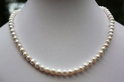 AAA 51cm 8mm  echte Süßwasser Perlen Schmuck Halskette Perlenkette Collier