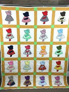 Vintage-Handmade-Sunbonnet-Sue-Patchwork-Quilt-Blanket-Measures-69-034-x-84-034