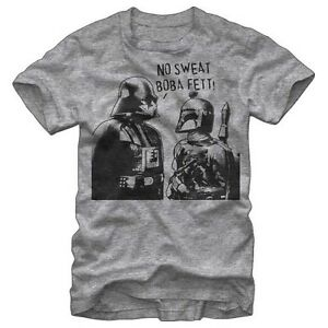 8f9761bb8 Official Mens Star Wars No Sweat Boba Fett T Shirt Heather Grey NEW ...