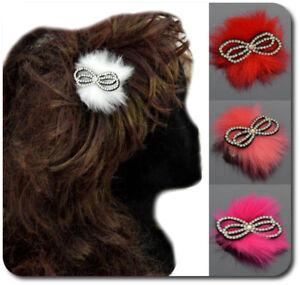 Haarspange-Haarclips-Schleife-Fell-Imitat-Haarschmuck-Maedchen-Damen-Strass