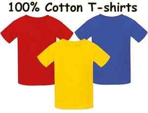 factory outlet the best dirt cheap Details about Children blank T-shirt in bright colours 100% cotton Kids  plain top Boys Girls