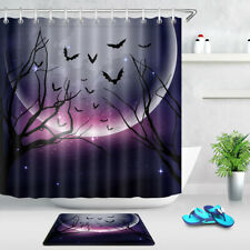 "Purple Sky Halloween Night Dead Trees Bats Shower Curtain Set Bathroom Decor 72/"""
