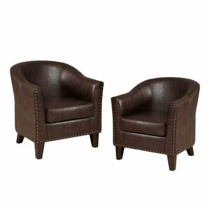 Awe Inspiring Details About Set Of 2 Faux Leather Accent Chair In Brown Ocoug Best Dining Table And Chair Ideas Images Ocougorg