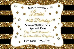 Personalised-Birthday-Party-invitations-40-or-any-age-Glitter-and-diamonds-x-10