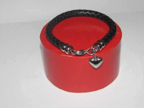 Genuine Leather and Stainless Steel Bracelet//Bangle