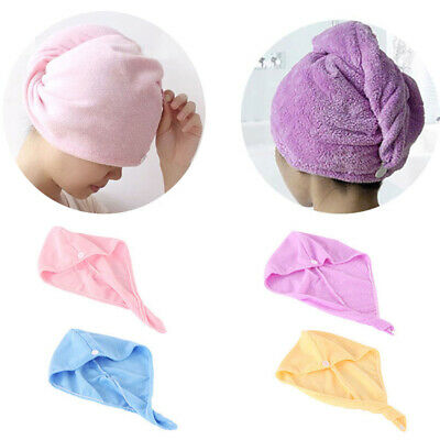 Microfibre Hair Drying Towel Wrap Turban Head Hat Bun Cap Shower Dry Hat