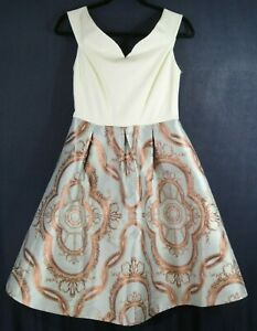 NWT-Ted-Baker-Versaille-Jacquard-Skirt-Dress-in-Blue-Size-2-US-6-D2689