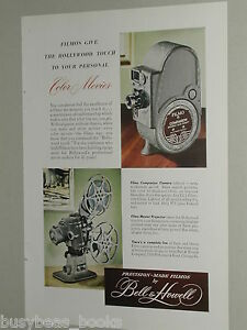 1948 Bell & Howell advertisement, FILMO Companion Camera, 8mm camera, projector