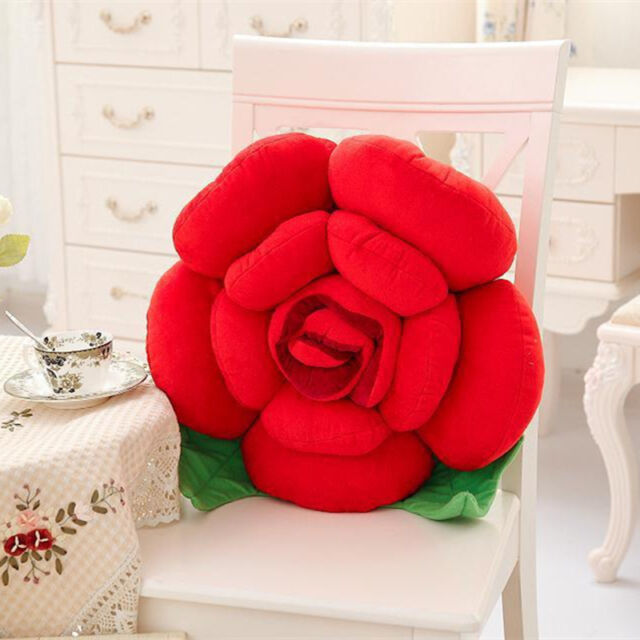NEW 3D Rose Flower Big Pillow Plush Toy Car Chair Cushions Valentine's Day Decor