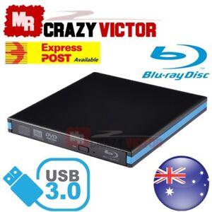 USB 3.0 External Portable Blu-Ray Combo Player DVD CD Burner ReWriter Drive 3D